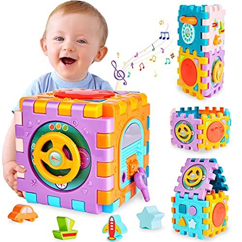 Baby Spielzeug Aktivität Würfel Lernspielzeug,6 in 1 Motorik würfel mit Formsortierer Klavier Trommel, Geschenk für Babys ab 6–18 Monaten, Spielzeug für Jungen und Mädchen Kleinkinder 1 2 3 4 Jahre
