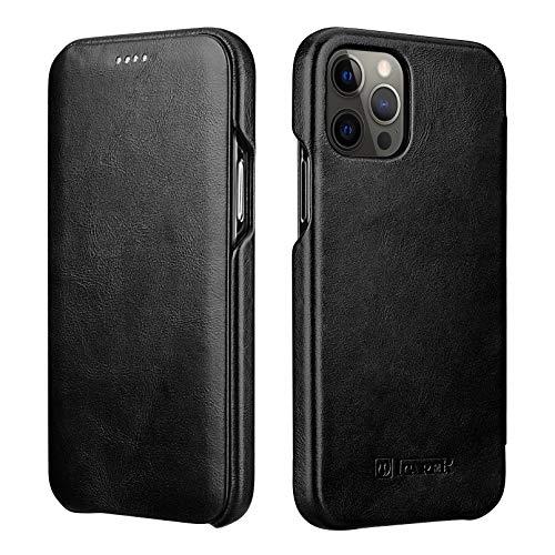 ICARER Custodia iPhone 12 PRO Max, Custodia Copertura di Vibrazione Flip Case Cover con Magnet Nascosto per Apple iPhone 12 PRO Max 2020 6.7 Pollici (Nero)