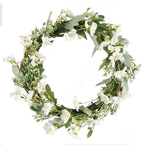 NAHUAA Küstliche Blumen Chrysantheme Kranz Deko Blumenkranz Haustür Kränze für Hause Tür Wand Balkon Deko Party Hochzeit Weiß