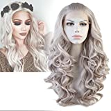 Cbwigs T4503/1001 NEW Style Long Realistic Charming Wave Grey Synthetic Lace Front Cosplay Wig Party Wig by CBWIGS