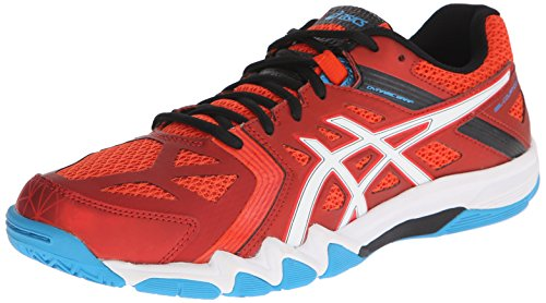 ASICS Men's Gel-Court Control Volleyball Shoe, Cherry Tomato/White/Turquoise, 12 M US
