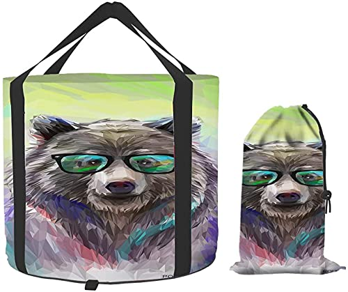 Bear - Bucket, Wild Hipster Animal Spectacled Bear Funny gafas portátil Folding Water Container for Camping Hiking Fishing