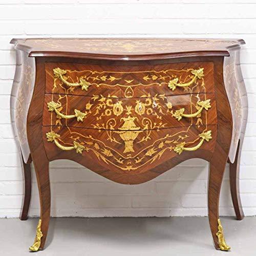 Casa Padrino Barockstil Kommode mit 3 Schubladen in braun Intarsien/Gold 100 x 50 x H. 80 cm - Möbel im Antik Stil