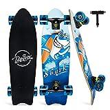 BELEEV クルーザー スケートボード,27インチコンプリートスケートボード 子供 大人 初心者用 ABEC7ベアリング採用 T字レンチ付け(青い)