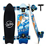 BELEEV Cruiser Skateboard for Girls & Boys, 27'x8' Complete Skateboard for Kids Teens & Adults, 7-Ply Maple Double Kick Deck Concave Trick Skateboard with All-in-One Skate T-Tool (Blue)