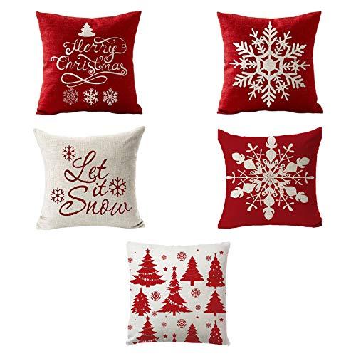 XIANGBEI 5 fundas de cojín cuadradas de lino rojo y blanco con diseño de copos de nieve, para día festivo, año nuevo, sofá, decoración del hogar