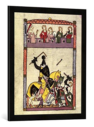 Gerahmtes Bild von Zürich Buchmalerei Codex Manesse, Zweikampf mit Lanzen, Kunstdruck im hochwertigen handgefertigten Bilder-Rahmen, 50x70 cm, Schwarz matt