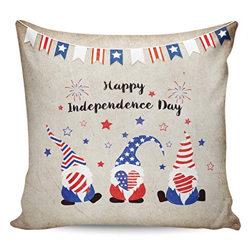 Litter Star Pillowcase Throw Pillow Covers Retro Cute Gnomes for Independence Day Decorative Square Cushion Cover Pillow Cases for Sofa Couch Bedroom Living Room Rustic Back 24x24in