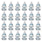 MINGZE 24 piezas Biberón de Plástico, Mini Botella de Caramelo Caja de Regalo para Fiesta Caramelo Recuerdo de Bautizo Ducha Baby Shower Cumpleaños Fiesta Bebé Favorece Decoraciones (Azul)