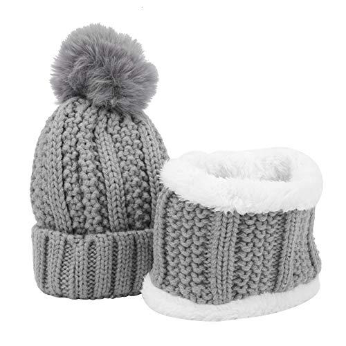 Sombrero de Invierno de Tela Suave, Gorro de Punto de bebé de diseño Lindo, para bebé(Gray)