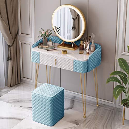 MFGDF Waschtischset mit beleuchtetem Schiebespiegel, Schminktisch mit Samt-Waschtisch, zur Aufbewahrung von Make-up-Schmuck im Schlafzimmer, einfache Montage