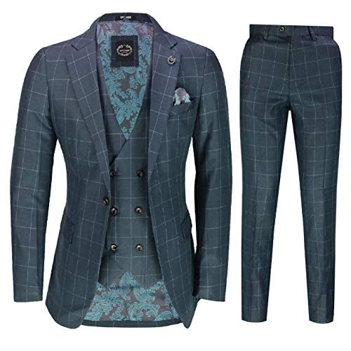 Xposed Herren 3 Stück Anzug Blau Auf Blau Bold Prüfen Elegante Klassik Maßgeschneidert Jacke Weste Hosen [SUIT-9042-5-C9-BLUE-48UK]
