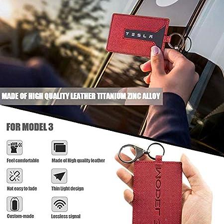 Tesla Model 3 Leder Autoschlüssel Kartenhalter Schutzhülle Autoschlüssel Hülle Schlüsselanhänger Fall Schlüsselanhänger Set Auto