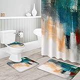 MQWEMJ Cortinas de Ducha, Pintado de Amarillo Blanco azul150×180 cm con alfombras Antideslizantes, Tapa de Inodoro y Alfombrilla de baño, Cortina de Ducha con 12 Ganchos, Tela Impermeable