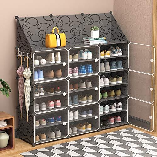 WWWL Zapatero Gabinete de Zapatos modulares Panel plástico Marco de Acero DIY montado Organizador de armarios de la Sala de Estar Zapatos de Almacenamiento Estante Mantener la habitación Neat 2-6B