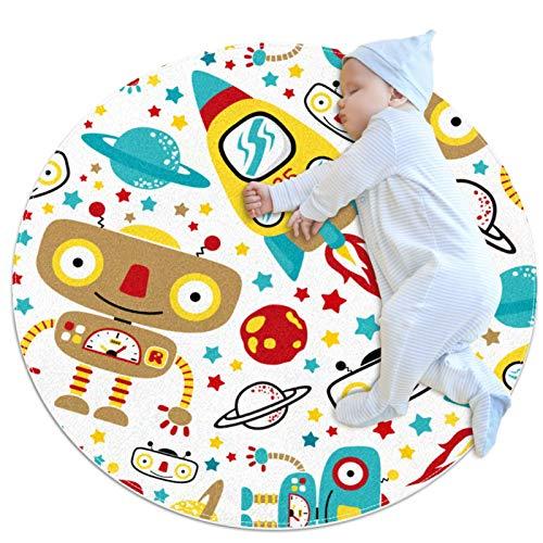Alfombra redonda para niños con diseño de cohetes espaciales Galaxy Planet para niños y niñas, alfombra suave, para bebés, sala de estar, cama