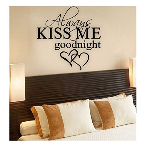Edtoy ALWAYS KISS ME GOODNIGHT LOVE Wall Quote Sticker Art Decal Vinyl Baby Room Decor Mural