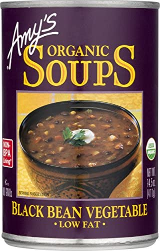 Amy s Organic Black Bean Vegetable Soup Low Fat Vegan 14 5 oz product image
