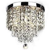 SUNLIHOUSE Modern Crystal Chandelier Ball Fixture Pendant Ceiling Lamp H11.7' X W9.8', 3 Light,Mini Modern Chandelier Lighting Fixture for Bedroom, Hallway, Bathroom, Kitchen, Bar