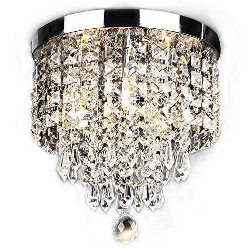 "SUNLIHOUSE Modern Crystal Chandelier Ball Fixture Pendant Ceiling Lamp H11.7"" X W9.8"", 3 Light,Mini Modern Chandelier Lighting Fixture for Bedroom, Hallway, Bathroom, Kitchen, Bar"