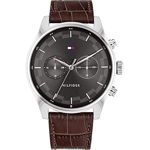 Tommy Hilfiger Reloj Multiesfera para Hombre de Cuarzo con Correa en Cuero 1710422