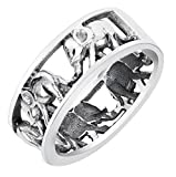 CloseoutWarehouse Sterling Silver Elephant Family Migration Ring Oxidized Size 10