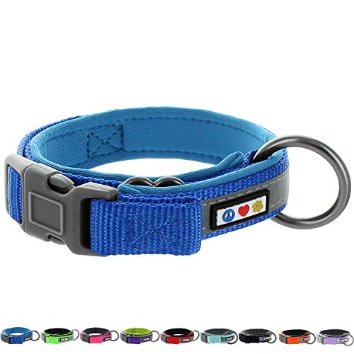 PAWTITAS Holzfäller-Hundehalsband Gepolstertes Hundehalsband Reflektierendes Hundehalsband Welpenhalsband Klein Hundehalsband Blau Hundehalsband