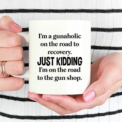 Taza con texto en inglés 'I'm a Gunaholic', regalo para amantes de las armas, taza de café divertida para tiradores.