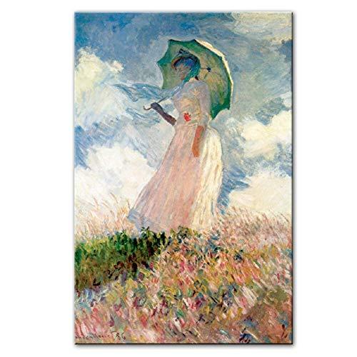 Druck auf Leinwand Claude Monet Frau mit einem Sonnenschirm Wandkunst Leinwandbilder Reproduktionen Impressionist Berühmte Leinwand Kunstdrucke Home Decoration 40 x 60 cm (15,7