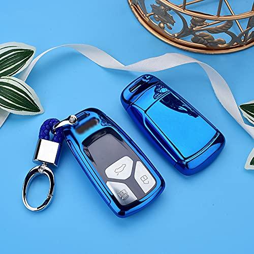 ZYHYCH Soft TPU Car Remote Key Cover Case, Apto para Audi A4 A4L A5 Q5 Q7 B9 R8 8S TT TTS 2016 2017 Llavero, Azul