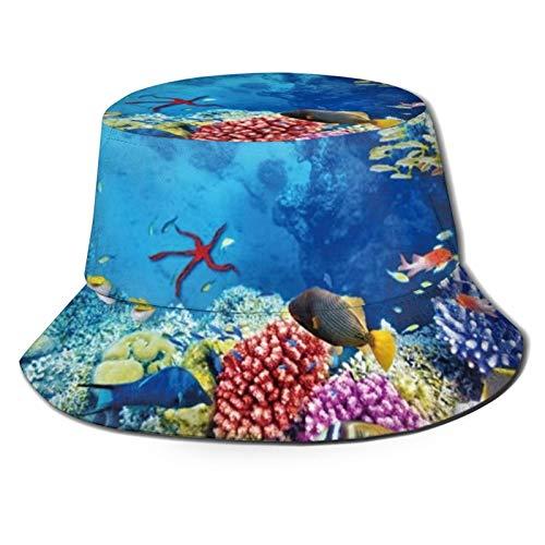 136 Happy Easter Underwater World - Cappello da viaggio unisex per pescatori, cappello estivo