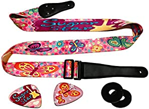 Pink Guitar Strap Adjustable For Kids & Girls Bundle Includes 2 Strap Locks & 2 Matching Picks- For Electric & Acoustic First Act Discovery & Guitar Lovers. [NEW UPDATED VERSION]