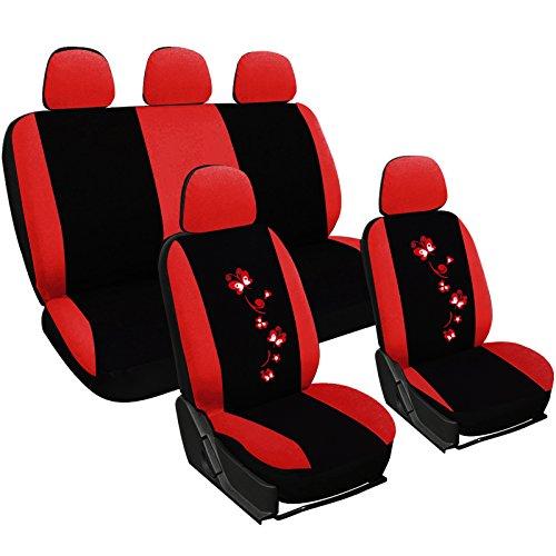 WOLTU AS7250 Sitzbezüge Auto Schonbezüge universal Größe, Butterfly Stickerei, schwarz-rot