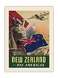 Pacifica Island Art Paul George Lawler c.1940 - Póster de viaje de la línea aérea de Nueva Zelanda (61 x 81 cm)