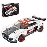 WWEI Piezas de construcción para coche deportivo, 362 piezas, coches de carreras Speed Champions coches de juguete, bloques de montaje compatibles con Lego Audi R8