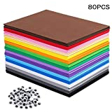 80 PCS EVA Foam Handicraft Sheets, Craft Foam Sheets Assorted Colorful for Craft Projects,Kids DIY Projects...