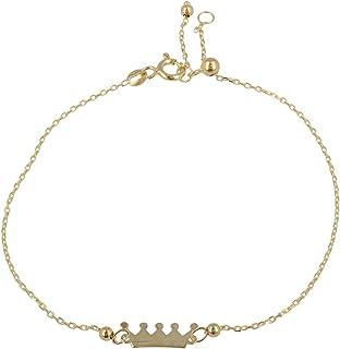"""Gioiello Italiano - Bracciale""""Corona"""" in oro giallo 14kt, lunghezza regolabile tra 11 e 20cm, per donna e ragazza"""