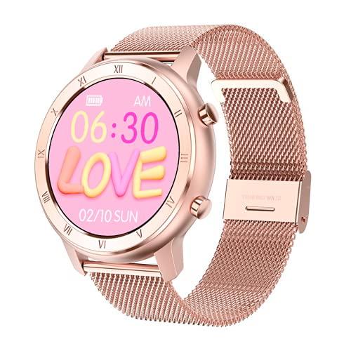 Reloj Inteligente Mujer Hombre, Pulsera Actividad, Smartwatch con Monitor de Pasos, Calorías, Sueño y Ritmo Cardíaco, Reloj Inteligente Impermeable IP68, Compartible con iOS y Android (DORADO&ROSADO)