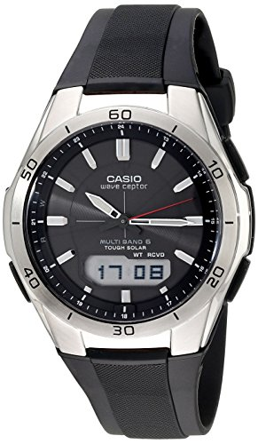Casio Men's WVA-M640-1ACR Solar Powered Wave Ceptor Stainless Steel Watch with Black Resin Band