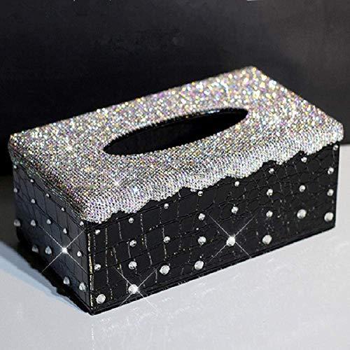 LYJ Tejido caja de pañuelos de dispensadores de papel higiénico caja de almacenamiento caja de cristal blanca del tejido del cuero del coche de caja del diamante de Bling decorativo Auto toalla de pap