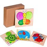 Puzzle in Legno per Bambini Giocattoli Animali, 4 Pezzi Prescolare Educativo Giochi per 1 2 3 4 5+ Anni Bimbo Ragazze Ragazzi, Giochi Montessori Set Regalo, Multicolore