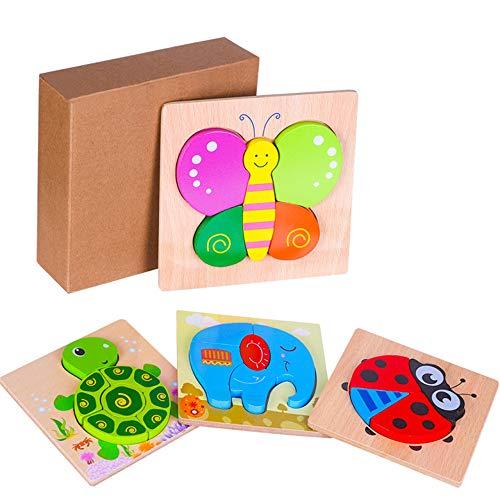 Puzzle in Legno per Bambini Giocattoli Animali, 4 Pezzi Prescolare Educativo Giochi per 1...