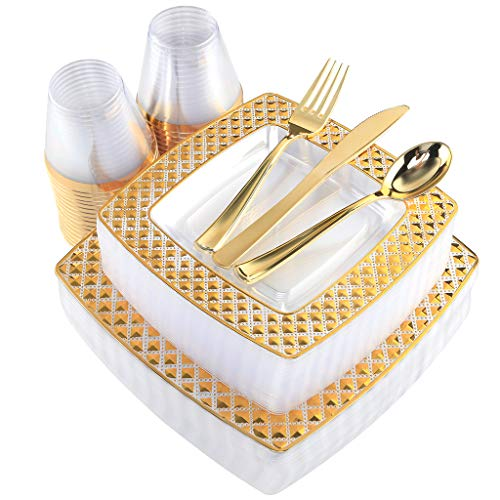 WDF 150PCS Gold Plastic Plates with Disposable Plastic Silverware&Cups, Diamond Square Clear Plastic Tableware include 25 Dinner Plates, 25 Salad Plates, 25 Forks, 25 Knives, 25 Spoons, 25 Cups