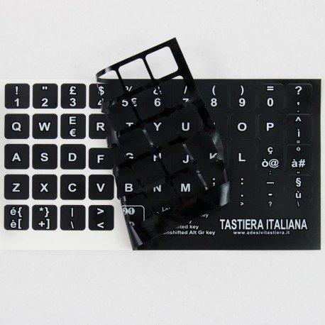 StickersLab - Adesivi Lettere Tastiera Italiano Fondo Nero Lettere Bianche al Centro e Tasti 14mm x 14mm
