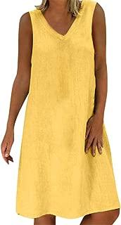 Women Summer T-Shirt Dress, Casual Plus Size Sleeveless Sundress Changeshopping