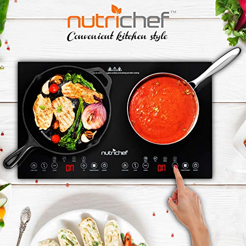 Product Image 6: NutriChef Double Induction Cooktop 120V Portable Digital Ceramic Dual Burner w/Kids Safety Lock-Works with Flat Cast Iron Pan,1800 Watt,Touch Sensor, 12 Controls PKSTIND48