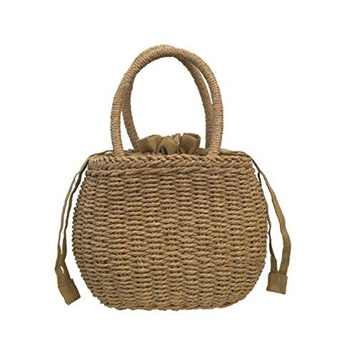 Samber Bolsos de Mano para Mujer Bolso Hecho de Mano Multifunsional Tejido de Rota Bolso para Playa y Picnic (B)