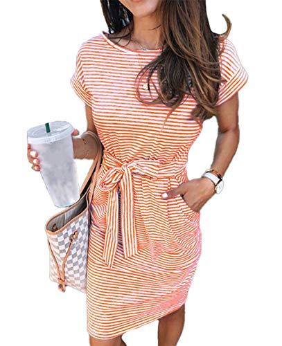 ECHOINE Women's Summer Striped Dresses, Short Sleeve T Shirt Dress Casual Tie Waist with Pockets Orange