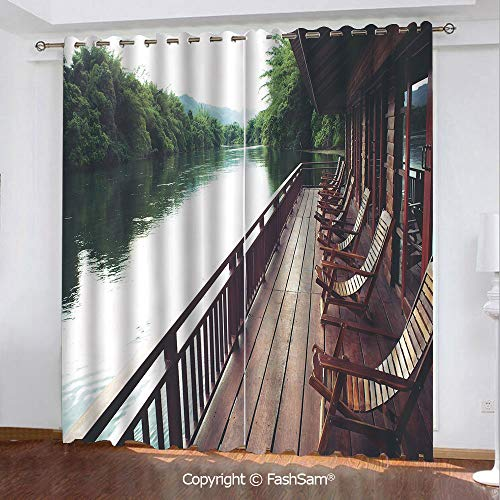 """Best Home Fashion Blackout Curtains Wooden Chairs in Floating Hotel on The River Kawai in Thailand Idyllic Resort Travel Window Curtains for Living Room(84""""X62"""")"""