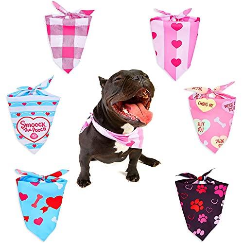 Bandanas de perro de San Valentín para mascotas grandes, 6 diseños (25.25 x 12.5 in, 6 unidades)